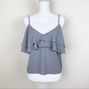 Forever 21 - Gray Ruffle Cold Shoulder Top